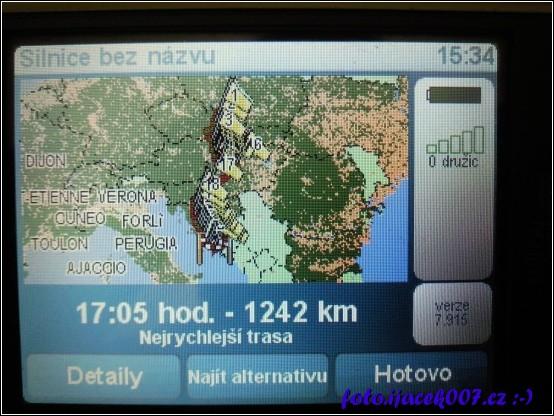 cesta do Chorvatska v navigaci naplánována pomocí průjezdných bodu.