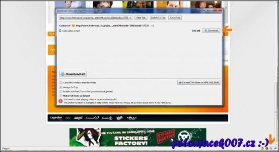 prostředí doplňku video downloader