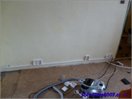 instalace elektrikářské lišty a příprava nových zásuvek