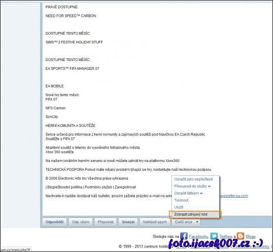 možnosti zopbrazení zdrojového kódu emailu na portálu centrum.cz