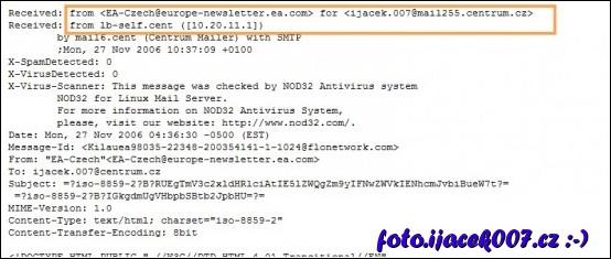 zvýrazněná hlavička emailu a ip adresa odesilatele