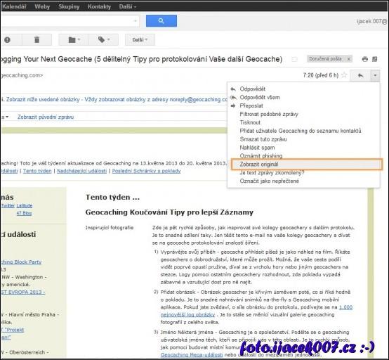 zobrazení zdrojového kódu emau na portálu gmail.com