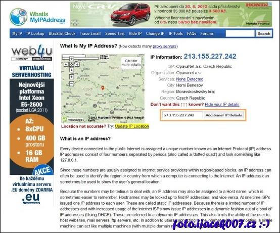 webová stránka na ověření ip adresy pokocí které přistupujete k internetu