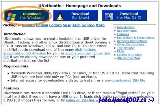 webová stránka projektu unetbootin