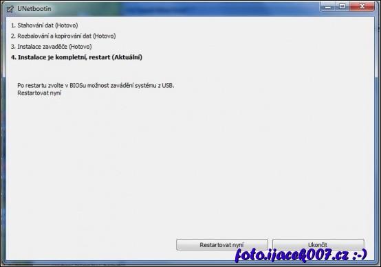 dokončení vytvoření boot flash disku