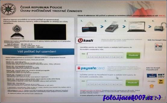 obrazovka postiženého počítače policejním virem