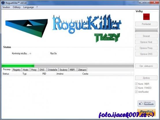 rozhraní programu RougeKiller a informace o probíhajícím testu.