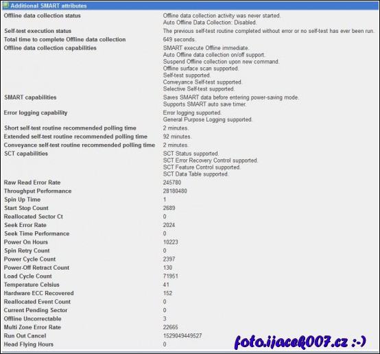 pohled na diagnostiku pevného disku v Ubuntu přes rozhraní Webmin