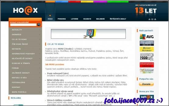 webová stránka popisující Hoax a další poplašné a nepravdivé správy