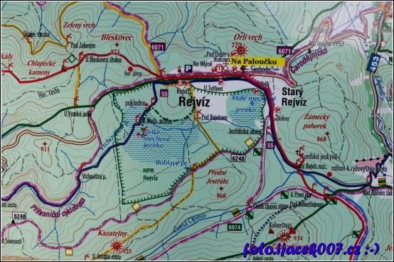 pohled na mapu okolí obce Rejvíz