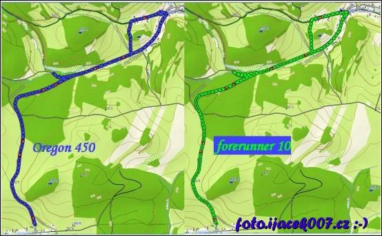 porovnání záznamu trasy GPS navigace oregon 450 a hodinek forerunner 10