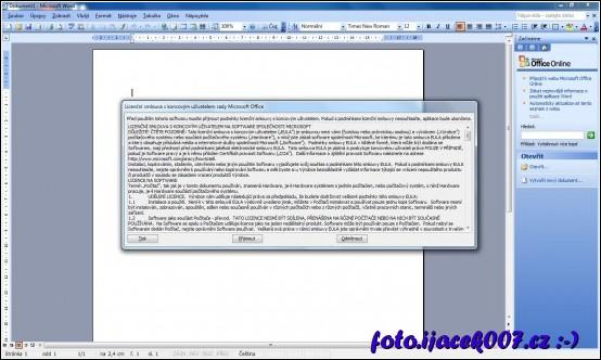 licenční smlouva se má zobrazit po prvním spuštění programu Office