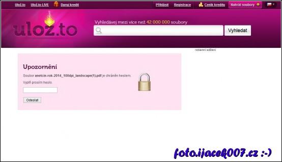 zobrazení zadání hesla při použití ochrany heslem na webu uložto