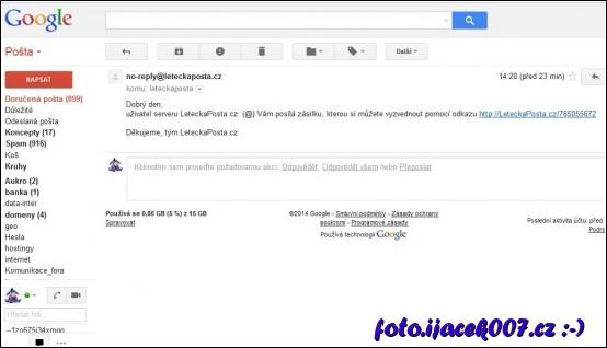 email od letecké pošty