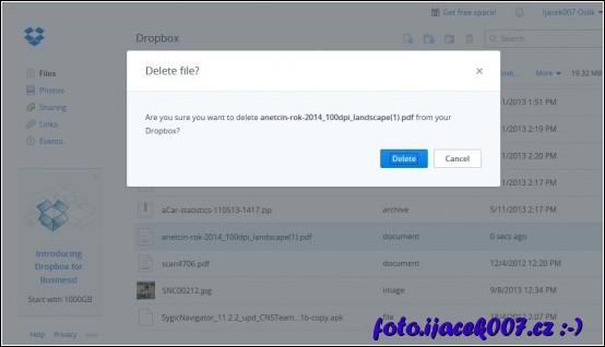 odstranění souboru z webového prostředí dropbox