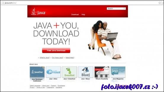 vzhled webové stránky java.com bez reklamních proužku