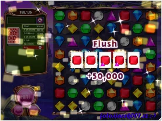 Obrazovka ze hry Bejeweled3 část hry Poker.