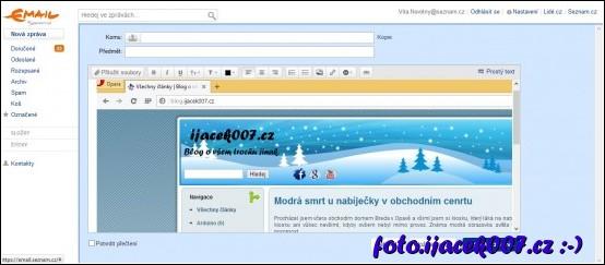 vložení obrázku do emailu na stránce seznam.cz