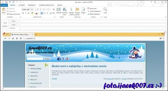 vložení obrázku přímo do emailového klienta outlook