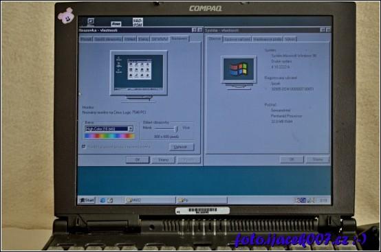 obrázek Compaq Armada 4130T a vlastnosti systému Windows 98