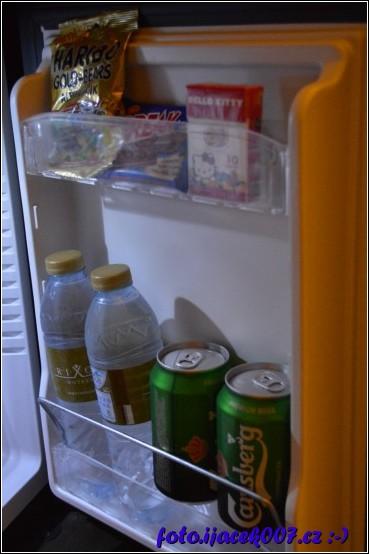 součástí ledničky tedy minibaru bylo jak pivo tak pěkně chlazená voda