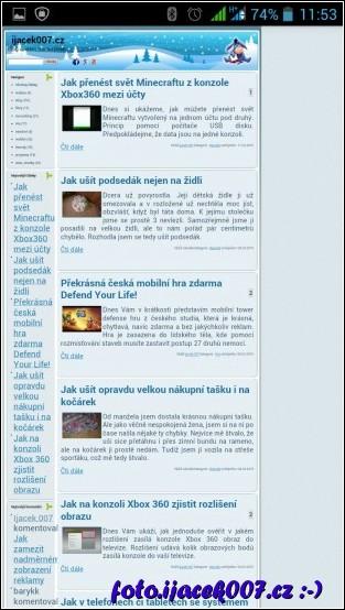 pohled na staré rozmístění webové stránky na blogu