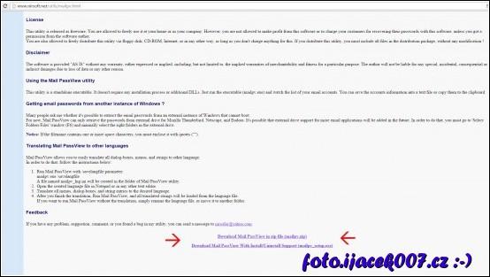 stažení aplikace z webu nirsoft.net