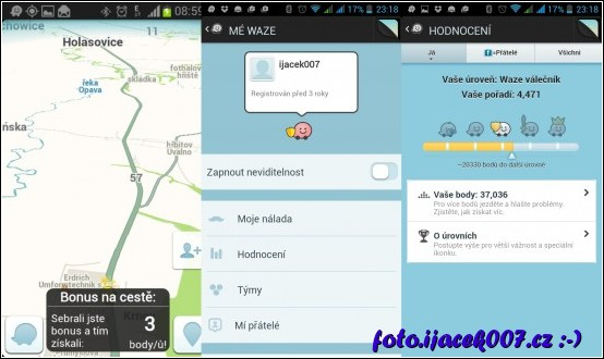 pohled na obrazovky navigace bonus na cestě informace o uživateli