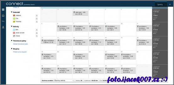 evidence procházek v kalendáři služby Garmin Expres