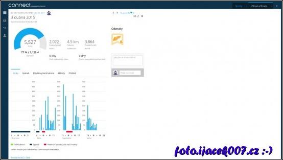 statistika na webové stránce Garmin Connect
