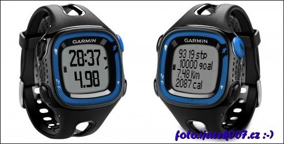 pohled na sportovní hodinky garmin forerunner15