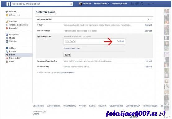 obrazovka nastaveni sociální sítě facebook položka platby