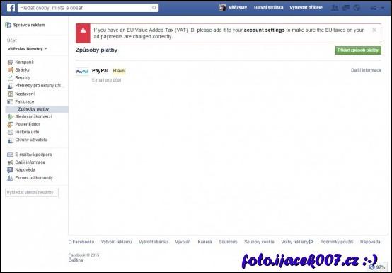 webová stránka facebook.com a nastavení způsobu platby.