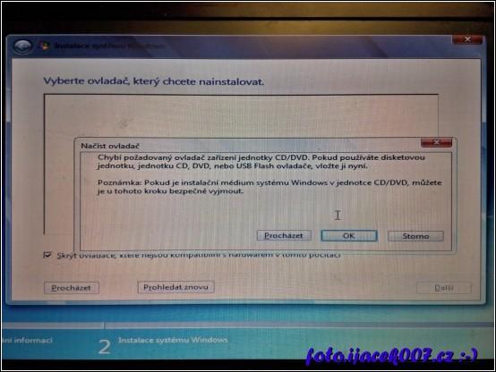 obrazovka instalačního procesu