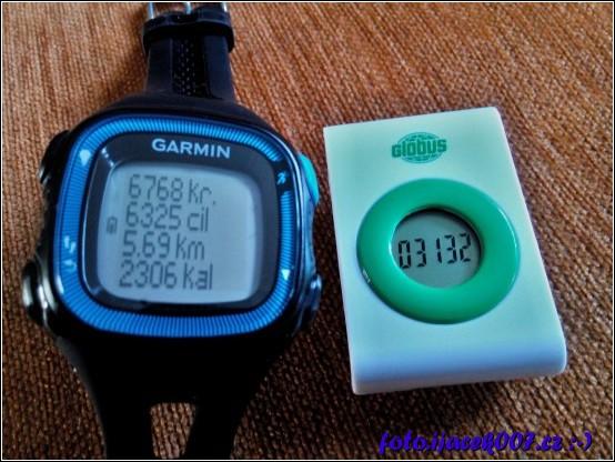 rozdíl v naměřených krocích hodinkami garmin forerunner15 a krokoměru globus