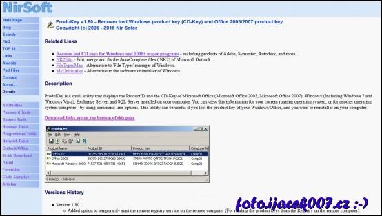 webová stránka s informací o produktu Recover lost Windows product key