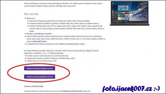 stránka pro stažení instalátoru systému Windows 10