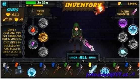 pohled do inventáře hrdiny