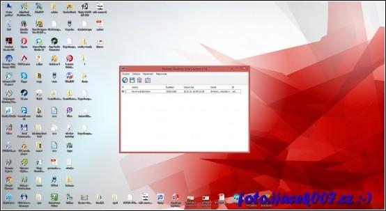 pohled na program s prvním uloženým seznamem ikon
