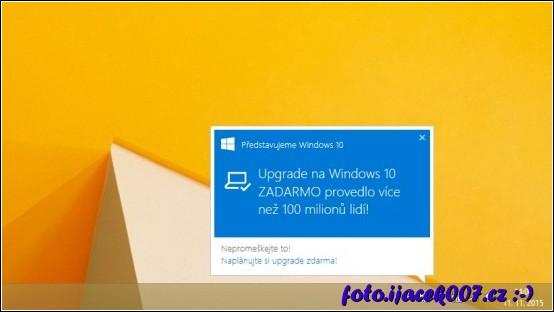 takto vypadá reklama zobrazující možnost přejít na systém Windows 10