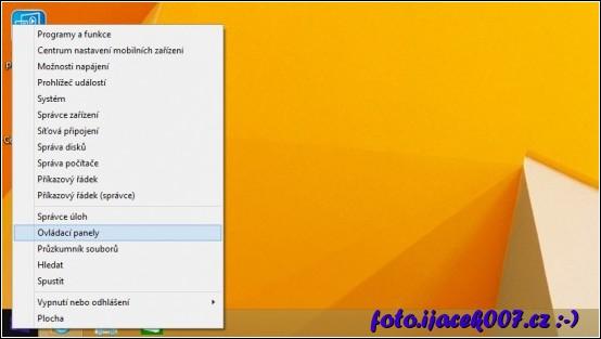 Do starých ovladacích panelu se v systému Windows 8 dostanete přes pravé tlačítko myši.