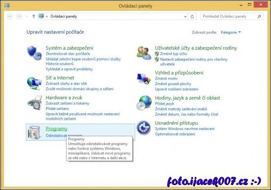 Přidat či odinstalovat program  můžete pomocí ikonky Programy