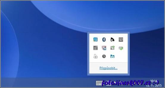 Položka menu pro přizpůsobení zobrazených ikonek v oznamovací oblasti.