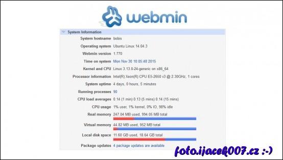 pohled na konfiguraci a zdroje serveru Bobis