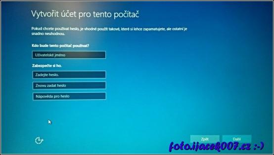 Instalace Windows 10 nastavení lokálního účtu.