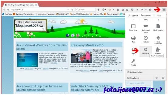 menu nastavení v prohlížeče Firefox