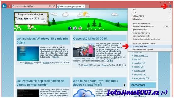 menu nastavení volby možnosti internetu.