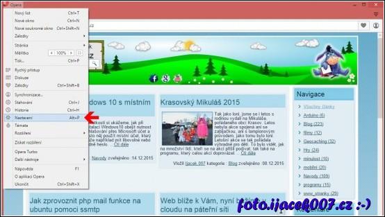 Menu nastavení prohlížeče Opera