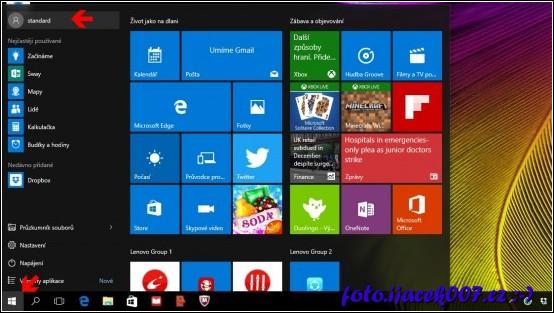 Windows 10 nabídka start a nastavení učtu