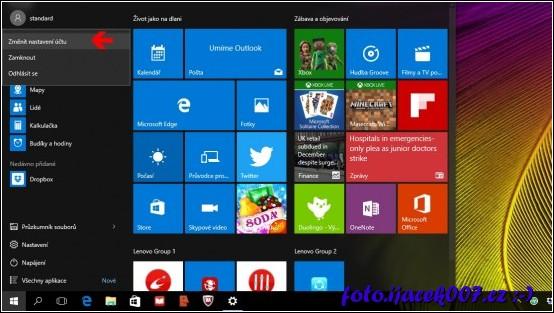 volba pro změnu nastavení učtu Windows10